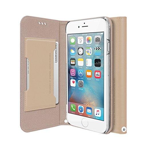 iPhone 6S Plue Fall, araree® [Leinwand Diary] Premium italienischem Leder Wallet Case Flip Cover Mit Kreditkarte ID Halter für Apple (2015) beige