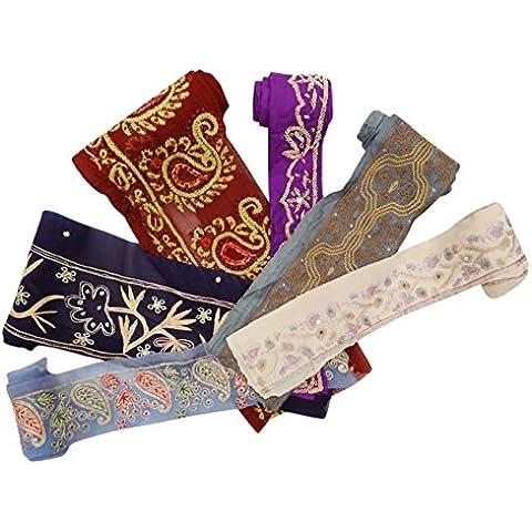 Lote 6 de la vendimia de Sari indio borde bordado recorte multicolor cinta del cordón 1YD