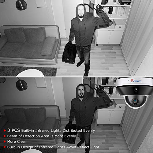 Ctronics PTZ PoE IP Überwachungskamera Outdoor Indoor Überwachungskamera 5MP HD Motion Detection Dome wasserdichte IP65 Kamera via APP DANALE (Upgraded Version)