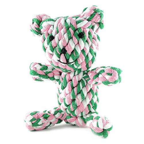 Hundespielzeug Hund | Tauspielzeug Hund | 'Bär', rosa-pink-hellblau-weiß | Spielzeug für Hunde zum Kauen | Seilspielzeug | Kauspielzeug | Kauseil | Welpenspielzeug