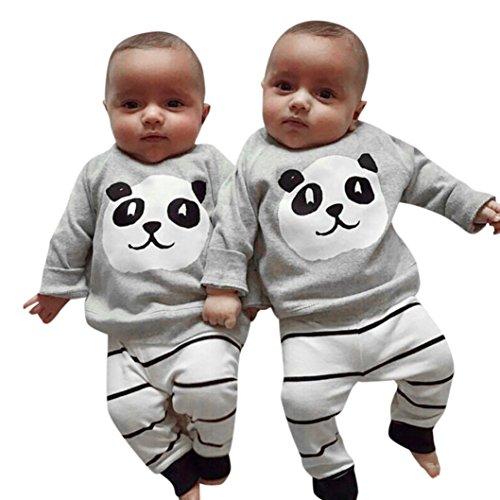Bébé Ensemble de Vêtements,LMMVP Nouveau-né Filles Garçons Panda Tops Shirt Pantalons à Rayures Ensemble d'équipement 2PCS Vêtements 0-24 mois (70(0-6M), Gris)