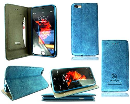 Apple i Phone 5S 6S 5C neue Echt Wildleder Phone Case Cover + gehärtetem Glas, Leder, blau, Apple I Phone 6S blau