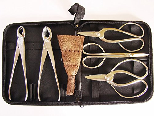 Bonsaiwerkzeugset II, platiniert, 7tlg., inkl. praktischer Werkzeugtasche