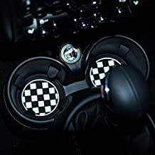 73mm Black/White Checkered Checkerboard Pattern Soft Silicone Cup Holder Coasters-fit MINI Cooper R55 R56 R57 R58 R59 Front Cup Holders