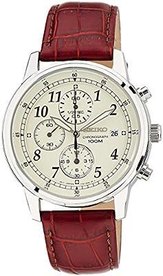 Seiko SNDC31P1 - Reloj cronógrafo de caballero de cuarzo con correa de piel marrón - sumergible a 100 metros
