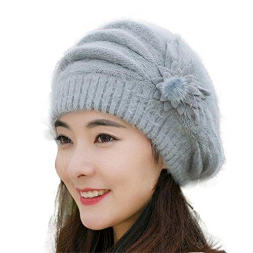Strickmützen,Amlaiworld Damen Blume stricken häkeln Beanie Mütze Winter Warm Cap Mütze (Grau)