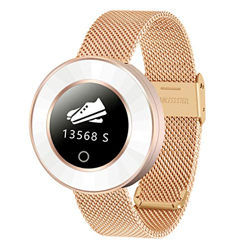 SIHOHAN Women Fashion Smart Watches Bluetooth Smartwatch IP68 Waterproof Fitness Tracer with Pedometer Sports Sleep Heart Rate Monitor Message/Call Notifications Compatible with Android iOS, Gold