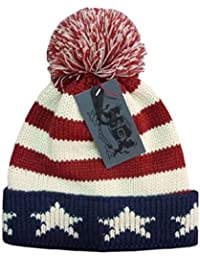 cde7d745503 Mens American Stars   Stripes Knitted Bobble Hat with Two Tone Pom