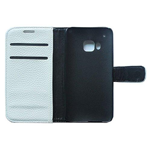 oulk® HTC One Touch Pop 2One M9, étui, Portefeuille en cuir PU Litchi la main Coque avec béquille