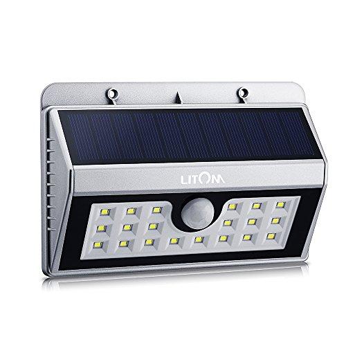 LITOM Solarleuchten, LED Solarleuchten 3 Intelligente Modi 3-in-1 Wetterfeste Licht Bewegungs Sensor Lampe für Garten, im Freien, Hof, Terrasse, Garten, Auffahrt (3-licht-bewegungs-sensor-licht)