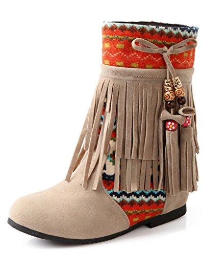 Minetom Damen Herbst Winter Wulstige Fringed Stiefel Nubukleder Stiefeletten Flache Schuhe Schneestiefel Beige