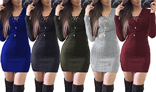 Smile YKK Femme Sweat-shirt Chemise Robe Tricot Manches Longue Moulante Hip-package Uni Vert