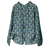 KUDICO Damen Tops Fashion Chiffon Floral Print Button Lange Ärmel lose T-Shirt Bluse Shirt, Angebote! (Grün, EU-42/CN-XL)