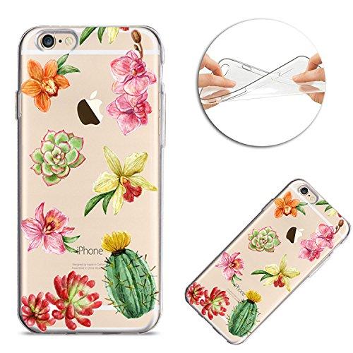 iPhone 6 6S Hülle,Silikon Schutzhülle für iPhone 6 6S, Sunroyal Schön Blume Bunt Muster Kristall Klar Anti-Scratch Weich Flexibel Bumper TPU Gel Handyhülle Ultra dünn Durchsichtige Tasche Case Cover E Muster 11