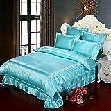 Sommer-Seide Vierteilige Set,Weiche Atmungsaktive Bettdecke Prinzessin Stil Luxus Bettbezug 1.8m Beding-K 120x200cm(47x79inch)