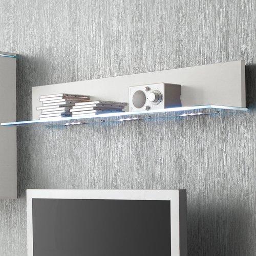 Anbauwand 3-tlg. in Hochglanz weiß, TV-Element, Hängevitrine, Glasbodenpaneel, Mindestbreite: ca. 180 cm, Tiefe: ca. 40 cm - 3