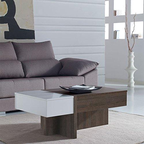 Tousmesmeubles Table Basse relevable Blanc/chêne foncé - AJAR - L 110 x l 60 x H 44/58 - Neuf