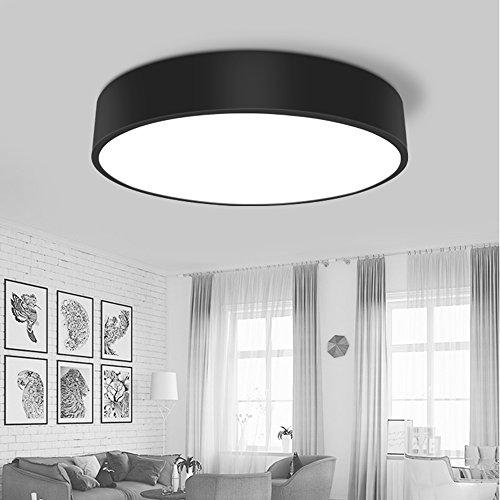 Nordisch Moderne Deckenleuchte Einfach Kreative Runde Deckenlampe Metal Acryl Schwarz weiß LED 28W Schlafzimmer Lampe Esszimmer Balkon Fluren Personalisierte Deckenstrahler Ø40cm (Schwarz)