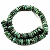 #8: Goyal Exports 1 Strand Natural Emerald Gemstone Rondelle Shape Faceted Beads Full 10