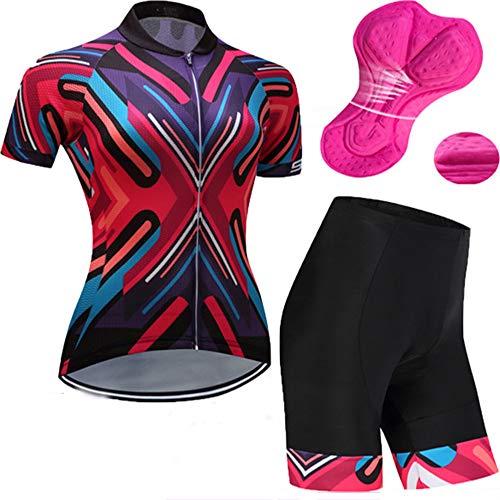 YDJGY Radfahren Jersey Frauen, Mountainbike Jersey Shirt Kurzarm, Rennrad Tragen Top Sommerkleidung