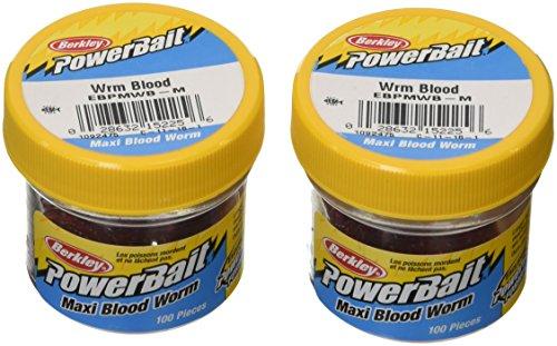 Berkley Powerbait, Confezione da 2 pezzi 100 Maxi vermi da pesca, colore: Rosso sangue