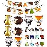 WENTS Geburtstag Dekoration Kinder Tier Wald Gute zum Geburtstag Banner mit Folien Tier Ballon Cupcake Topper Picks für Junge Mädchen Geburtstagsfeiern Kindergeburtstag Deko Party