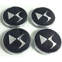 Juego de 4Citroen 60mm Llantas Mediados De Cap Buje DS Style Logo Negro Chrome Logo Badge Cover