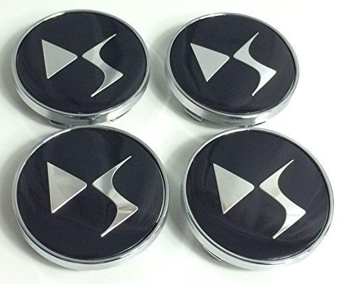 Lot de 4 cache-moyeux de 60 mm en aluminium avec logo noir et chrome, pour Citroen