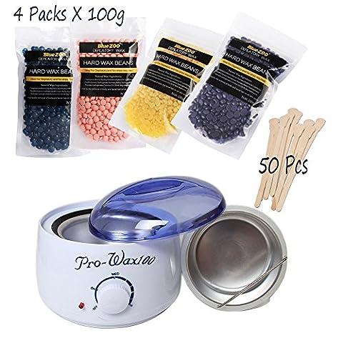 weisy épilation épilation Kit électrique chauffe cire + 4différents arômes (Camomille chaud, rose, lavande, Miel) Cire rigide fèves + 50Pcs Cire, spatules