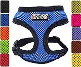 DDOXX Hundegeschirr Air Mesh | Softgeschirr | für große, mittelgroße, mittlere & Kleine Hunde | Geschirr Hund | Katze | Brustgeschirr | Zubehör | Blau, Größe B (S)