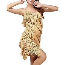 Mujer Lentejuela Borla Falda Latino Del Funcionamiento Danza Latina Vestidos Bailes Latinos Dorado