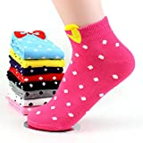 JERN Cute Dotted Bow Girls Socks (Maroon)