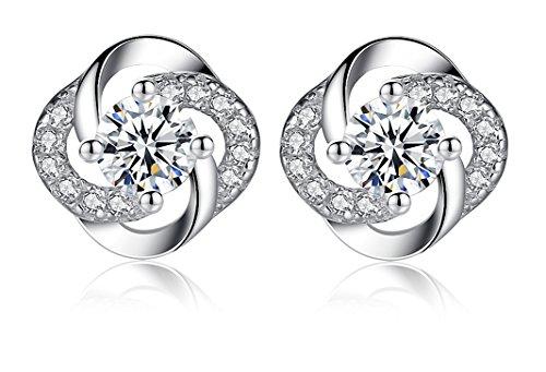 Blasea Flowers Earrings Sterling Silver Zirconia Women Jewelry Girlfriend Daughter Best Gift White