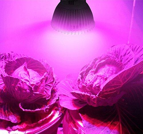 Pflanzenlampe LED Vollspektrum Wachstumslampe mit 18W LEDs Pflanzenleuchte Pflanzenlicht kompatibel mit Standard E14 / E27/GU10 für Zimmerpflanzen, Blumen und Gemüse (GU10)