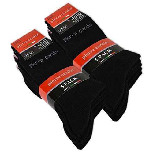 10 Paar Pierre Cardin Socken Herrensocken Baumwolle Business Socken Herren Socken Schwarz Blau Grau (43-46 | 10 Paar, Schwarz) -