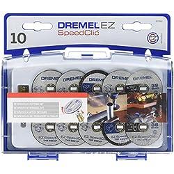 Dremel SC690 EZ SpeedClic Kit d'Accessoires - Coffret de Meules à Tronçonner pour Outil Mulltifonction Rotatif, 10 Disques á Tronçonner avec Mandrin pour Découper le Métal et le Plastique