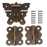 60MM Antike Bronze Butterfly Latch Hasp (für Lock) mit 40MM Messing Scharniere und Schrauben für Holz Schmuck Box Kabinett Dekorative