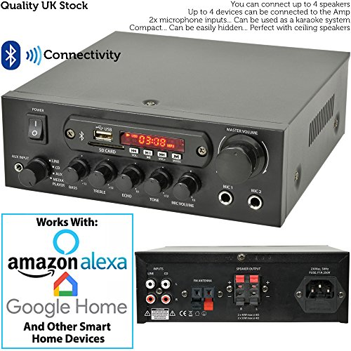 "51gtSc46l%2BL. SS500  - PRO SMART HOME BLUETOOTH SPEAKER SYSTEM – 4x 70W 4"" Black Wall Mounted Speakers & 110W Stereo HiFi Amplifier - *ECHO…"