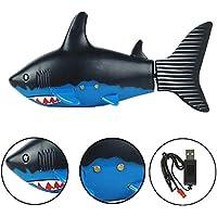Escomdp Mini RC Fish Niños Recargable Juguete Eléctrico Control Remoto Tiburón Nadando Juegos de Agua Barco Los Mejores Regalos para Niños (Black)