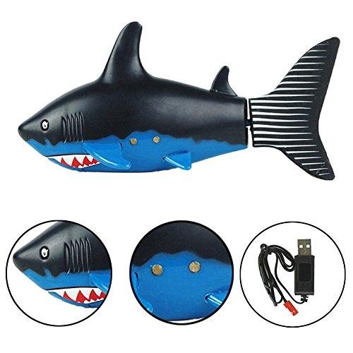Escomdp Mini RC Fisch Kinder Wiederaufladbar Elektrisches Spielzeug Fernbedienung Schwimmender Hai Wasser Spiel Spielzeug Boot Beste Geschenke für Kinder (Black)