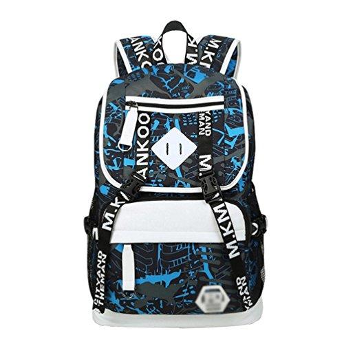 WanYangg Hombres Mochilas Escolares Juveniles Casual De Paseo Y Camping Mochila Escolar De Universitaria Bolsas De Libro Con Usb Puerto 1# azul negro gris