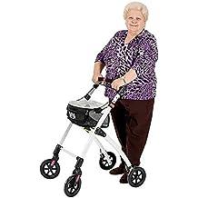 KMINA - Andador KMINA PRO Negro, Andador para adultos, Andador para mayores de aluminio, Andador para ancianos plegable con 4 ruedas, Manillar de un solo ...