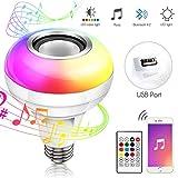 Haofy Music LED Ampoule, E26 / E27 Haut-parleur Bluetooth RGB Changement de couleur Ampoule avec port USB avec télécommande pour la fête, la maison, Halloween Décorations de Noël