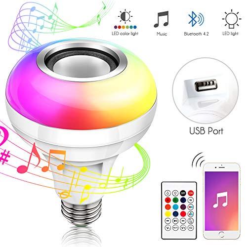 Haofy Musik Glühbirne E27 Bluetooth Lautsprecher RGB LED Smart Farbwechsel Lampe, Lautsprecher Birne Dimmbare mit Fernbedienung und usb Port für Schlafzimmer, Schrank, Bar, Party, Zuhause, Hotel Deko -