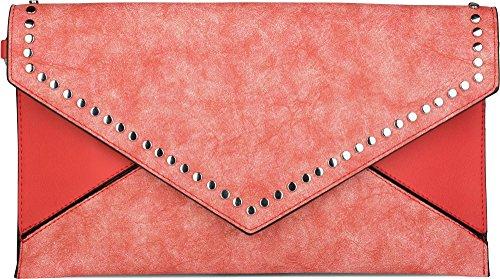 styleBREAKER Envelope Clutch im Kuvert Design mit Nieten, 2-Tone washed Vintage Look, Abendtasche, Damen 02012172, Farbe:Schwarz Rot