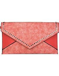 styleBREAKER bolso «clutch» en diseño de sobre con remaches, apariencia vintage desgastada en