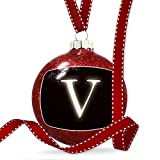 Christmas Decoration V black characters, letter Ornament