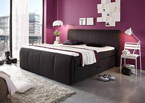 lifestyle4living Boxspringbett in schwarz mit Bettkasten, 4-Gang Bonell-Federkern Obermatratze und Komfort Schaum-Topper, Liegefläche: 180 x 200 cm
