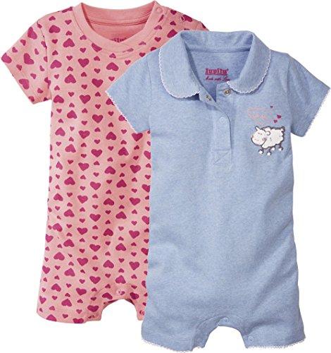 LUPILU® 2 Mädchen Baby-Schlafanzüge, kurz (blau meliert, rosa Herzen Muster, Gr. 86/92)
