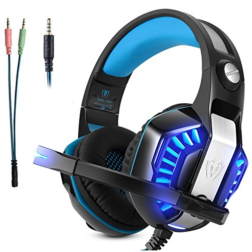 Gaming Headset Mikrofon Micolindun Over-Ear Kopfhörer Gamer für PS4, PC, Laptop, Tablet, Smartphone, LED einstellbarem Kopfbügel Lautstärkenregelung Super Bass Stereo Sound 3,5mm (inkl. Adapter)